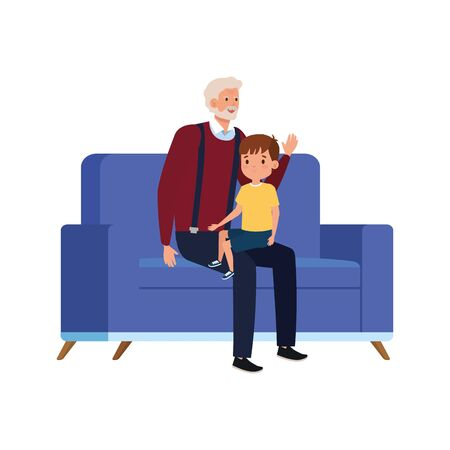 grandfather with grandson sitting in sofa vector illustration design