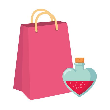 fragrance with heart bottle and bag shopping vector illustration design