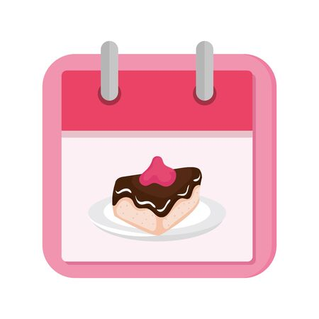 calendar with cake slice isolated icon vector illustration design 向量圖像
