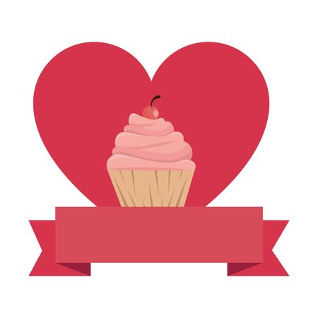 delicious cupcake with heart and ribbon vector illustration design  イラスト・ベクター素材