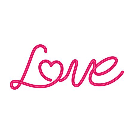 love label in neon light on white background vector illustration design