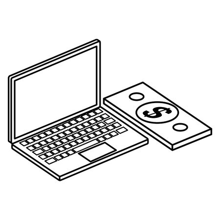 laptop computer with bill money isolated icon vector illustration design