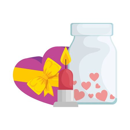 gift and bottle with candle isolated icon vector illustration design Ilustração