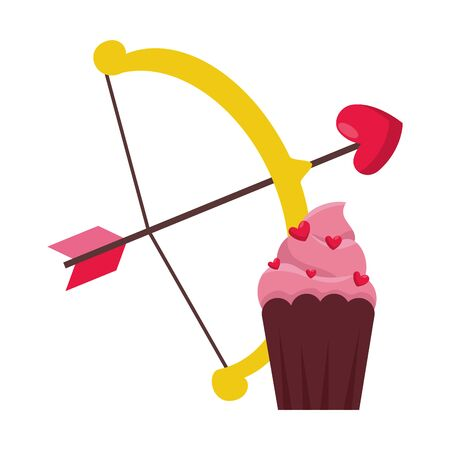 delicious cupcake with arch cupid isolated icon vector illustration design