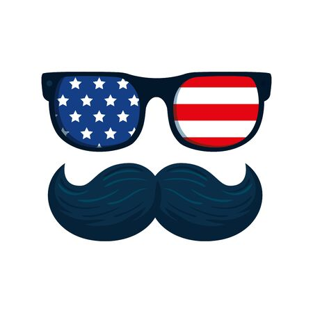 Usa glasses and mustache design, United states america independence labor day nation us country and national theme Vector illustration