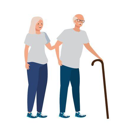 old couple elegant avatar character vector illustration design