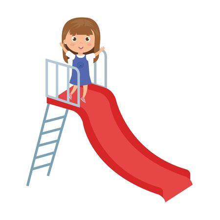 cute little girl in slide game vector illustration design