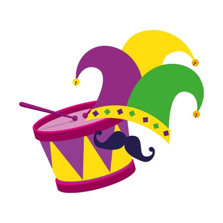 Mardi gras hat mustache and drum design, Party carnival decoration celebration festival holiday fun new orleans and traditional theme Vector illustration