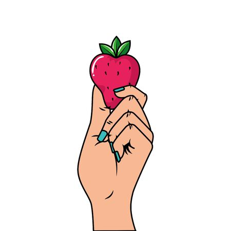 hand with delicious strawberry pop art style icon vector illustration design Ilustracja