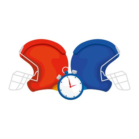 american football helmets with chronometer vector illustration design