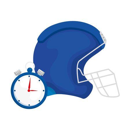 american football helmet with chronometer vector illustration design Ilustração