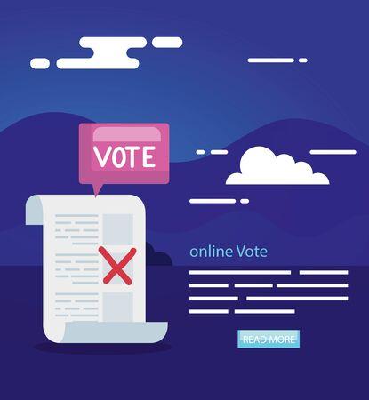 poster of vote online with vote form vector illustration design