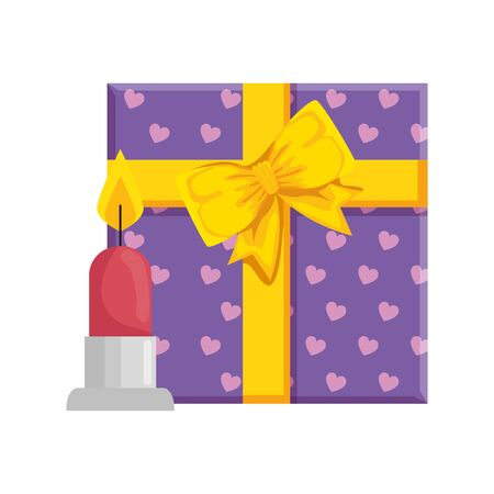 gift box with candle isolated icon vector illustration design