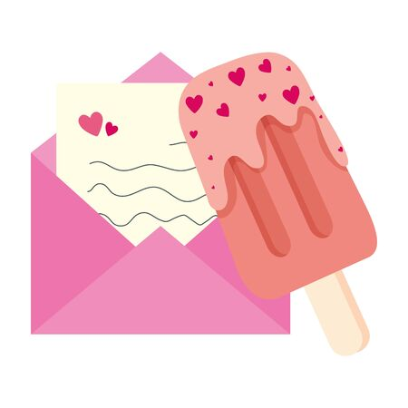 envelope mail with ice cream in stick isolated icon vector illustration design Banque d'images - 139695986