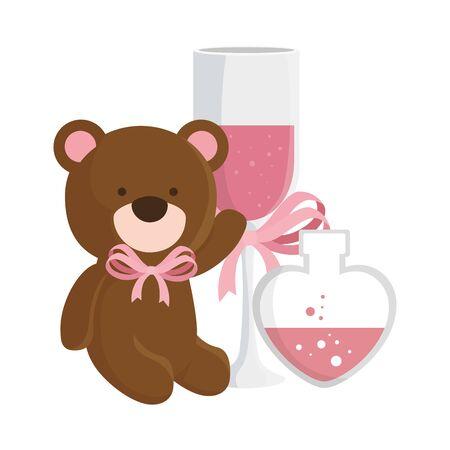 teddy bear with cup champagne and fragrance in heart bottle vector illustration design Ilustração