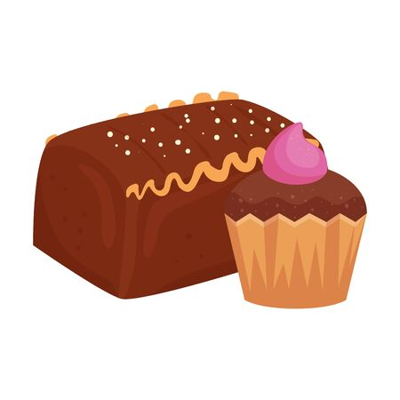 cake chocolate with cupcake isolated icon vector illustration design Illustration