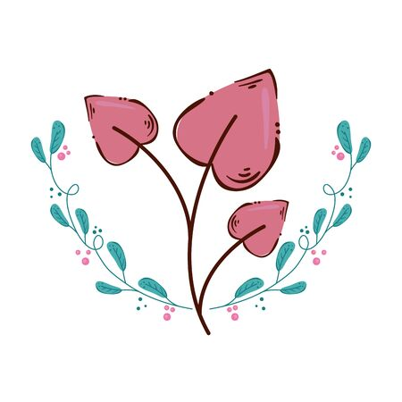 leafs in shape heart isolated icon vector illustration design  イラスト・ベクター素材