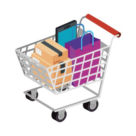 cart shopping with set icons vector illustration design 版權商用圖片 - 139696067