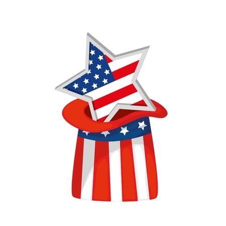 Usa star inside hat design, United states america independence labor day nation us country and national theme Vector illustration