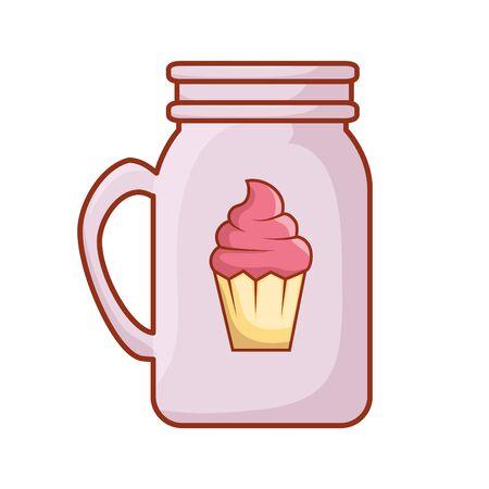 mug with cupcake isolated icon vector illustration design  イラスト・ベクター素材