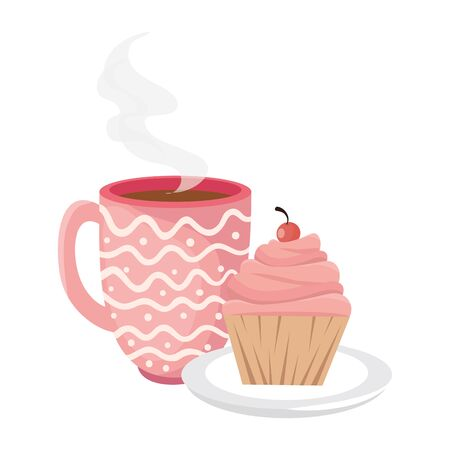 delicious cupcake and cup coffee isolated icon vector illustration design  イラスト・ベクター素材