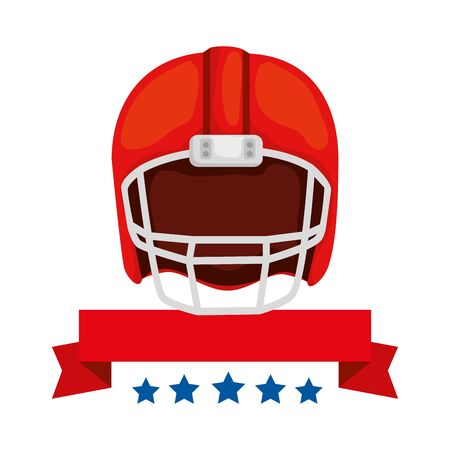 american football helmet with ribbon and stars vector illustration design