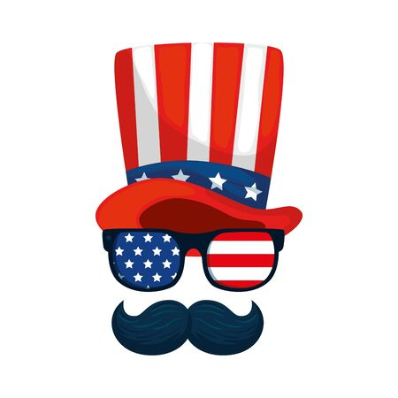 Usa hat glasses and mustache design, United states america independence labor day nation us country and national theme Vector illustration
