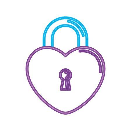 security padlock with heart shaped in neon light vector illustration design Ilustração