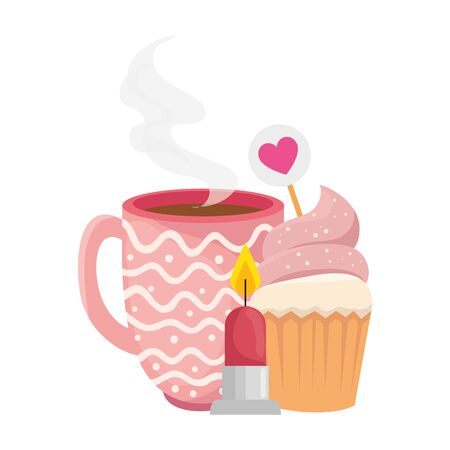 cup coffee with cupcake and candle vector illustration design