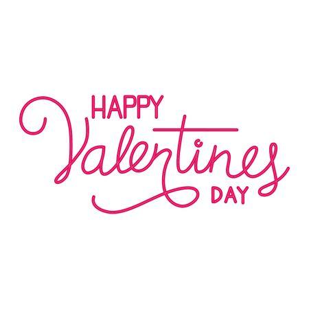 happy valentines day label in neon light vector illustration design