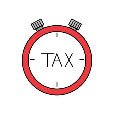 Tax chronometer of financial accoounting form revenue finance government income taxation refound and paying theme Vector illustration