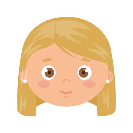 head of girl smiling on white background vector illustration design