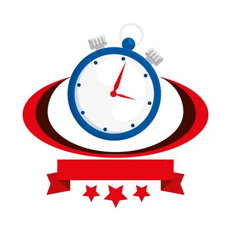 chronometer time with ribbon and stars vector illustration design