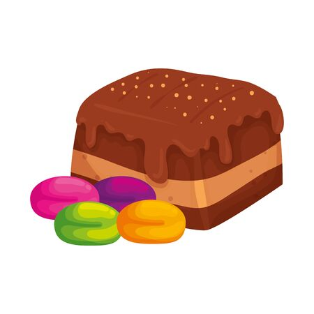delicious brownie chocolate with candies vector illustration design