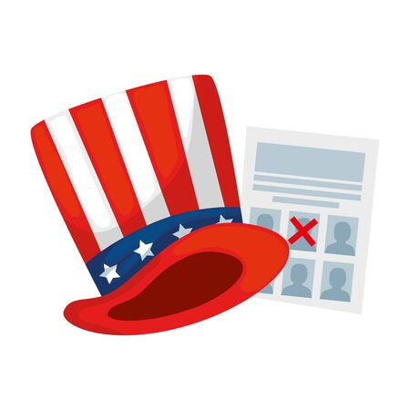 Usa hat and vote paper design, United states america independence presidents day nation us country and national theme Vector illustration  イラスト・ベクター素材