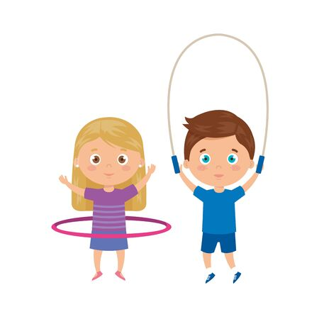 cute little children with jump rope and hula hula vector illustration design