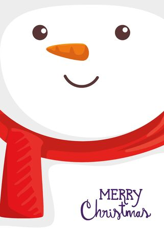 merry christmas poster with face snowman vector illustration design 일러스트