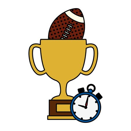 cup trophy with ball american football and chronometer vector illustration design