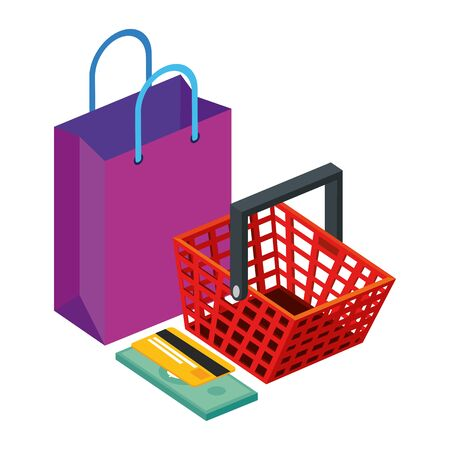bag with basket shopping and credit card vector illustration design Vettoriali