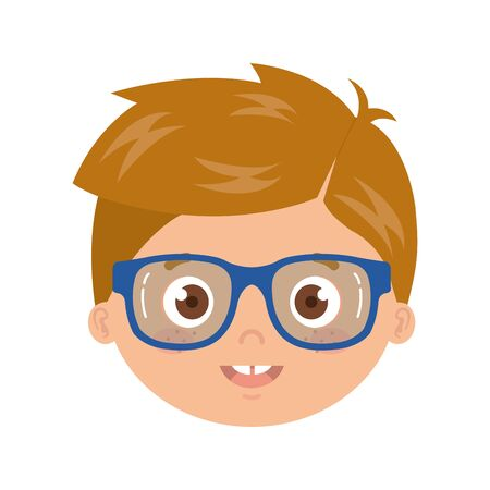 head of boy smiling on white background vector illustration design Illustration