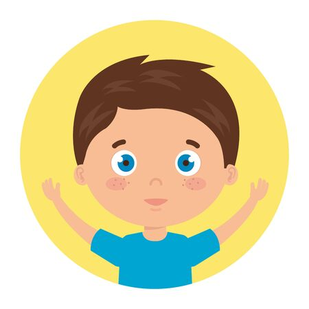cute little boy with hands up in frame circular vector illustration design