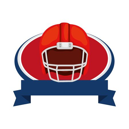 american football helmet with ribbon isolated icon vector illustration design