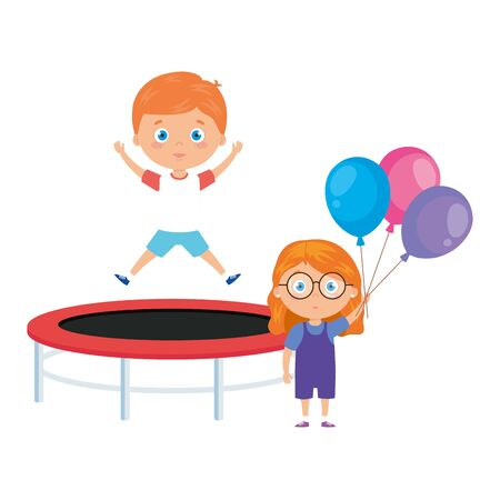 cute little children with trampoline jump and balloons helium vector illustration design