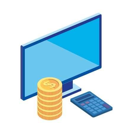computer desktop with pile coins and calculator math vector illustration design
