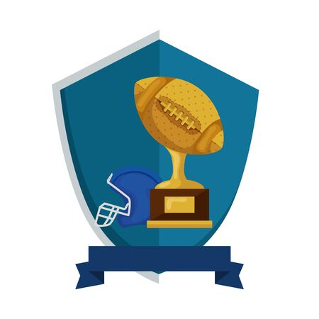 trophy and helmet american football in shield isolated icon vector illustration design