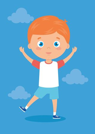 cute little boy with hands up and clouds vector illustration design