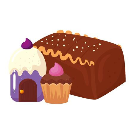 delicious cake chocolate with cupcakes vector illustration design