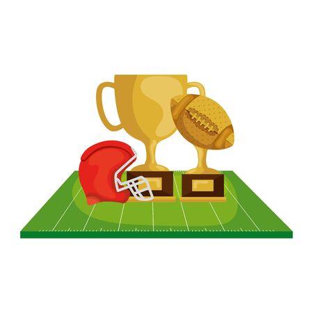helmet with trophies in field american football vector illustration design