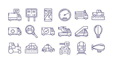 Vehicles icon set design, Transportation travel trip urban motor speed fast automotive and driving theme Vector illustration