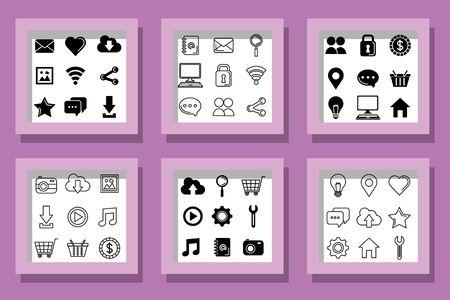 bundle of social media marketing set icons vector illustration design 일러스트